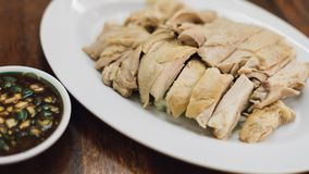 米蒸了用鸡汤在街道食物 图库摄影