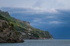 米诺利和马奥莱,阿马尔菲海岸,褶皱藻属,意大利 图库摄影