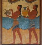 从米诺斯宫殿的考古学站点壁画Knossos的 库存图片