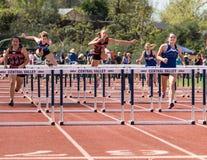 100米障碍决赛 库存照片