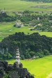 米领域、石灰石岩石和mo的惊人的高地看法 库存照片