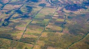 米领域,婆罗洲,印度尼西亚的空中图片在旱季的 免版税库存图片