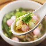 米饭团特别汤用在白色匙子的草本 库存图片