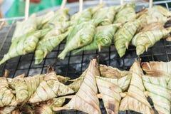 黏米饭地方快餐在南泰国 库存照片