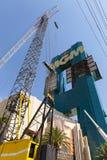 米高梅旅馆标志建设中在拉斯维加斯, 8月06日的NV, 库存图片