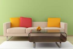 米黄内部现代沙发 免版税库存图片