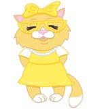 米黄动画片逗人喜爱的小猫 免版税图库摄影