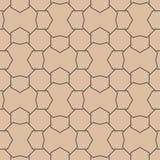 米黄和棕色几何装饰品 无缝的模式 免版税图库摄影