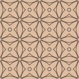 米黄和棕色几何装饰品 无缝的模式 图库摄影