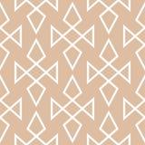 米黄和白色几何装饰品 无缝的模式 图库摄影