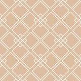 米黄和白色几何装饰品 无缝的模式 库存图片