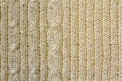 米黄样式被编织的织品背景纹理由cotto制成 库存照片