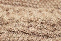米黄被编织的背景中等厚度螺纹 免版税库存图片