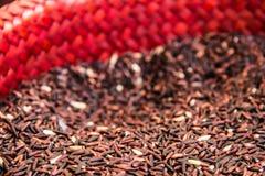 米,糙米,红色米 库存图片