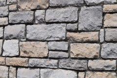 米黄和灰色砖墙 免版税库存照片