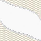 米黄和白色雪佛之字形框架有被撕毁的背景 免版税库存图片