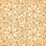 米黄抽象乱画开花无缝的样式 免版税库存图片