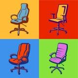 米黄黑色椅子组办公室一 库存图片