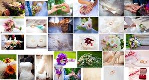 米黄花束新娘拼贴画dof礼服敲响婚姻浅的鞋子 免版税库存照片