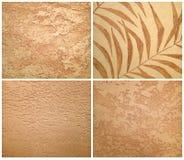 米黄装饰膏药的汇集,艺术刷子纹理 库存图片