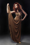 米黄长的礼服的少妇 免版税库存图片