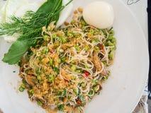 米细面条辣沙拉,泰国样式 免版税库存图片