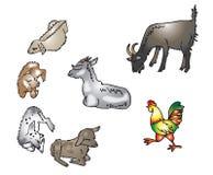 山羊,山羊,雄鸡 向量例证