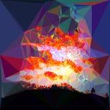 类似与剧烈的天空的多角形抽象背景风景在日落 库存照片