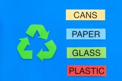 类型的matherial reycle和再用的 打印的词塑料,玻璃 罐头,塑料近的eco标志回收箭头  免版税库存图片
