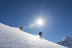 粉末坡道滑雪 库存图片