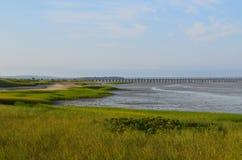 粉末点桥梁和Duxbury海湾美丽的景色  库存图片