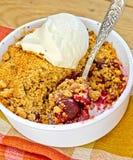 粉碎在碗的樱桃有在餐巾的冰淇凌的 免版税图库摄影