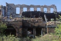 粉碎的砖瓦房,佩特森,新泽西 库存照片