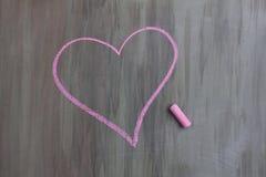 粉笔画心脏形状 库存照片