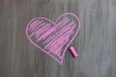 粉笔画心脏 免版税库存图片