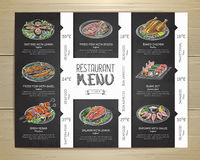 粉笔画餐馆菜单设计 库存照片