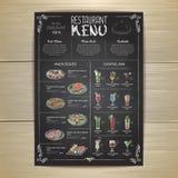 粉笔画餐馆菜单设计 图库摄影