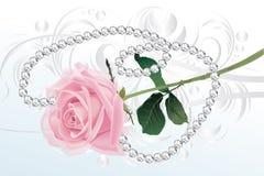 粉红色玫瑰和钻石项链 库存照片