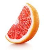 粉红色葡萄柚在白色隔绝的柑桔楔子  库存照片