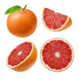 粉红色葡萄柚 整体,切片,半,圈子,隔绝在白色背景 裁减路线 免版税库存图片