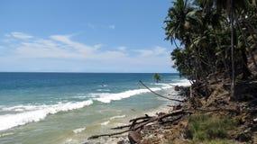 粗砺的海岛海滩 库存照片