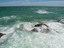 粗砺的海洋,大西洋,卡迪士, Spane 图库摄影