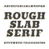 粗砺的葡萄酒平板细体字母表字体 向量例证