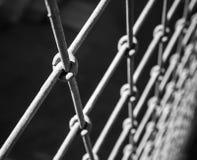 粗砺的钢在黑色的篱芭宏观片段 免版税库存图片
