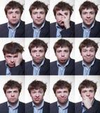 粗野的年轻人一系列的情感画象  免版税库存照片