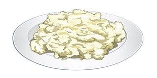 粗面粉烹调了用在一块白色板材的牛奶 有用和容易的早餐传染媒介 库存图片