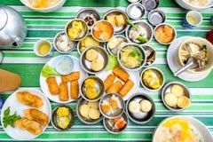 粤式点心地方早餐在南泰国 免版税库存照片