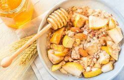 粥与果子健康早餐的碗燕麦粥在晴朗的早晨桌上 库存照片