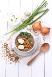粥用蘑菇和鹌鹑蛋 库存图片