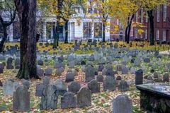 粮仓坟场公墓-波士顿,马萨诸塞,美国 图库摄影
